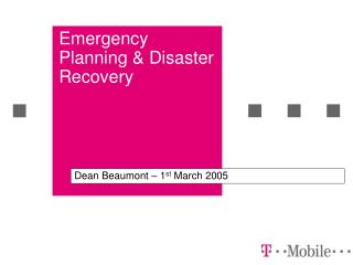Emergency Planning & Disaster Recovery