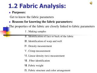 1.2 Fabric Analysis: