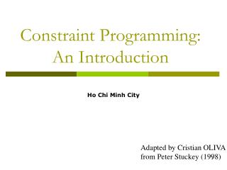 Constraint Programming: An Introduction