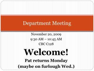 Department Meeting