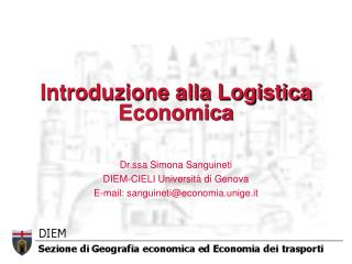 Introduzione alla Logistica Economica