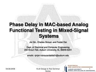 Phase Delay in MAC-based Analog Functional Testing in Mixed-Signal Systems