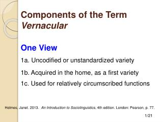 Components of the Term  Vernacular