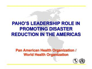 PAHO S LEADERSHIP ROLE IN PROMOTING DISASTER REDUCTION IN THE AMERICAS