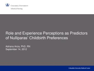 Role and Experience Perceptions as Predictors of Nulliparas' Childbirth Preferences