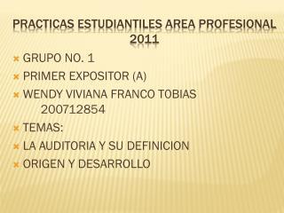 Practicas estudiantiles  area  profesional 2011