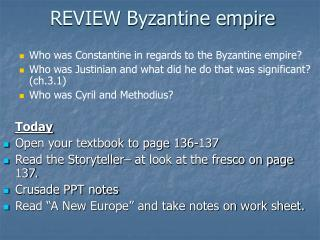 REVIEW Byzantine empire