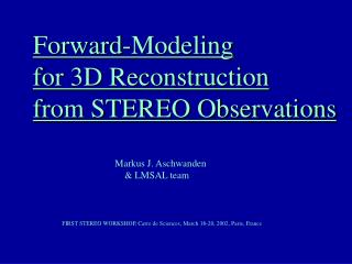 Forward-Modeling for 3D Reconstruction from STEREO Observations