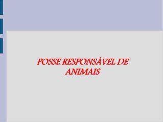POSSE RESPONSÁVEL DE ANIMAIS