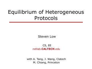 Equilibrium of Heterogeneous Protocols