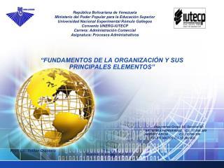 """""""FUNDAMENTOS DE LA ORGANIZACIÓN Y SUS PRINCIPALES ELEMENTOS"""""""