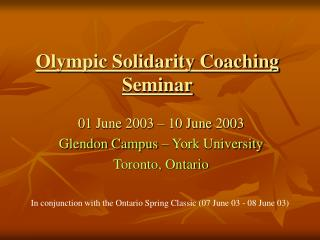 Olympic Solidarity Coaching Seminar