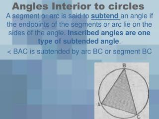 Angles Interior to circles