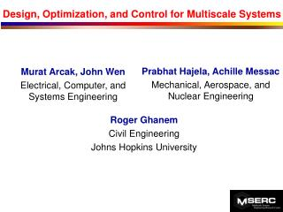 Design, Optimization, and Control for Multiscale Systems