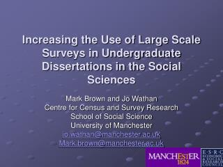 Increasing the Use of Large Scale Surveys in Undergraduate Dissertations in the Social Sciences