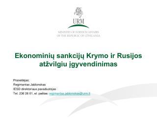 Ekonominių sankcijų Krymo ir Rusijos atžvilgiu įgyvendinimas