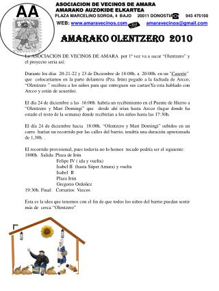 AMARAKO OLENTZERO  2010