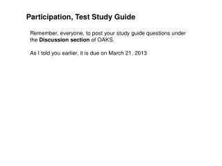 Participation, Test Study Guide
