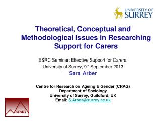 Theoretical, Conceptual and Methodological Issues in Researching Support for Carers