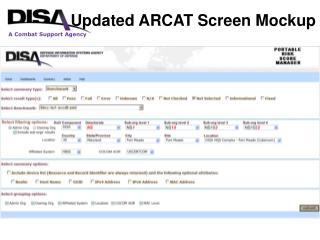 Updated ARCAT Screen Mockup