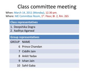 Class committee meeting