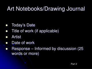 Art Notebooks/Drawing Journal