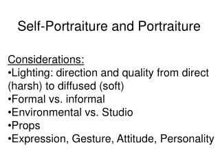 Self-Portraiture and Portraiture