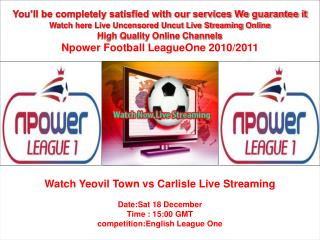 Yeovil Town vs Carlisle Live Stream Online PC