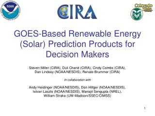 GOES-Based Renewable Energy Solar Prediction Products for Decision Makers
