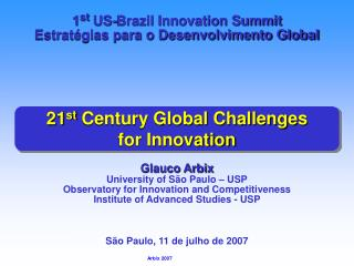 21 st  Century Global Challenges  for Innovation