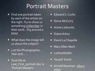 Portrait Masters