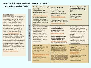 Emory+Children's  Pediatric Research Center Update  September  2014
