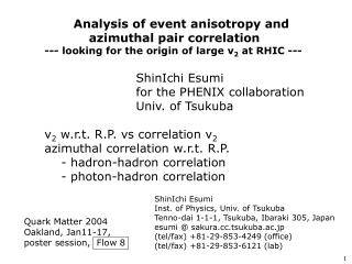 Analysis of event anisotropy and            azimuthal pair correlation