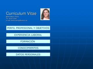 Curriculum Vitae Belén Marín Pérez Tfn: 653072580 e-mail: belenmarinp@yahoo.es
