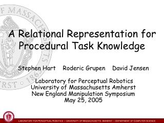 A Relational Representation for Procedural Task Knowledge