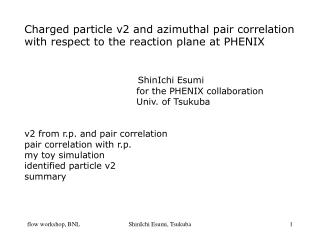 Charged particle v2 and azimuthal pair correlation  with respect to the reaction plane at PHENIX
