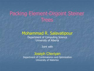 Packing Element-Disjoint Steiner Trees