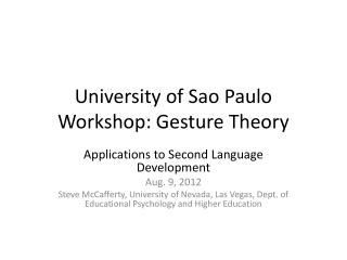 University of Sao Paulo Workshop: Gesture Theory
