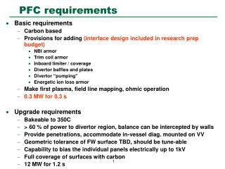 PFC requirements