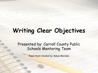 Writing Clear Objectives