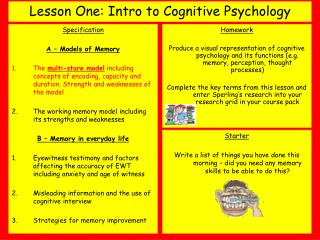 Lesson One: Intro to Cognitive Psychology