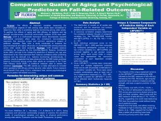 Comparative Quality of Aging and Psychological  Predictors on Fall-Related Outcomes