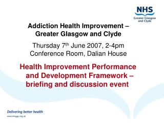 Health Improvement Performance and Development Framework – briefing and discussion event