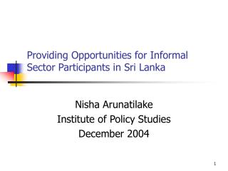 Providing Opportunities for Informal Sector Participants in Sri Lanka