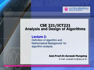 CSE 221/ICT221  Analysis and Design of Algorithms