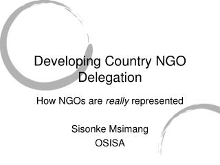 Developing Country NGO Delegation