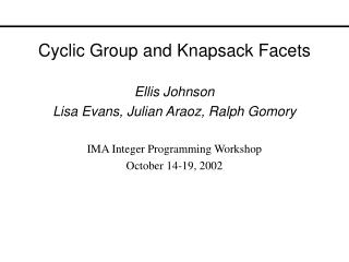 Cyclic Group and Knapsack Facets