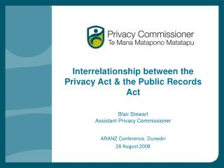Interrelationship between the Privacy Act & the Public Records Act  Blair Stewart