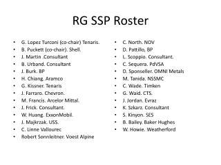 RG SSP Roster