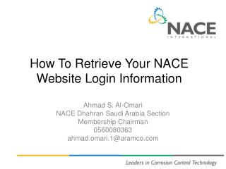 How To  Retrieve Your NACE Website Login Information
